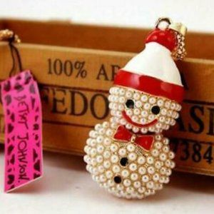 Necklace- NEW- Betsey Johnson Christmas Snowman